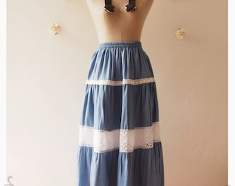 "Long Skirt Denim Summer Skirt Beach Skirt Skirt Beach Dancing Skirt Gypsy Boho Bohemian Skirt  Hippie Skirt -waist  25""-34"""