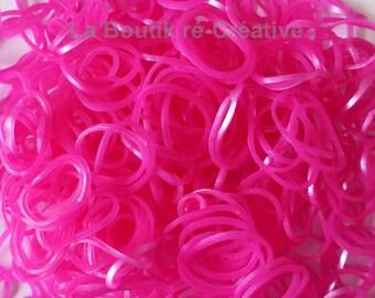Sachet set 600 elastic Loom Bands pink metallic new!