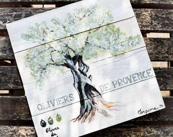 """Painting palette """"Olive de Provence"""" - wall decor - 30x30cm"""