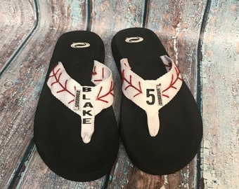 ON SALE Baseball clothing - flip flops - baseball sandals - sports team flip flops - custom sports shoes - custom flip flops