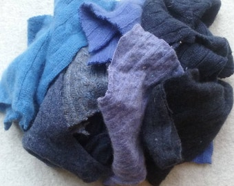 Cashmere Recycled Remnants - Light to Dark Blue- for DIY Crafts and Projects - 16 oz. Bundle
