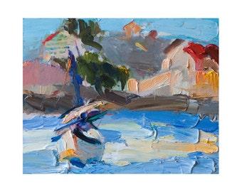 Giclee Fine Art Print - Impasto Seascape with a Sailboat - Original Plein Air Oil Painting Impressionist Sea Seascapes Abstract Blue Coastal