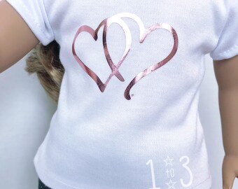 Two Hearts Doll Sized T-shirt for American Girl Dolls