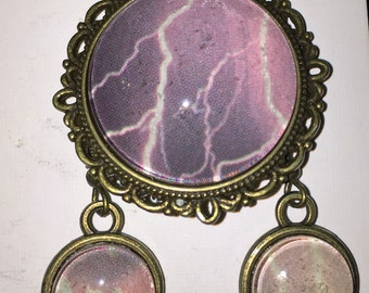 Glass Dome Pendant and Earring Set - Purple Lightning Storm