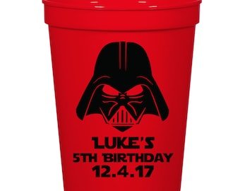 Star Wars Birthday Party- 16 oz. Reusable Plastic Stadium Cup- Minimum Purchase of 12 Cups!