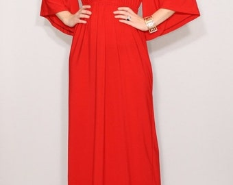 SALE Red dress Kimono sleeve Women Maxi dress Bright red dress Plus size clothing