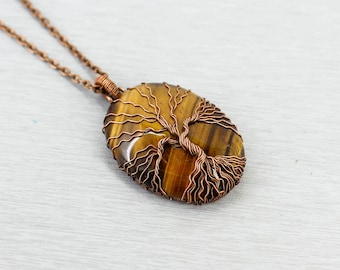 Tree of life necklace Tiger eye jewelry for men necklace for men jewelry Father day gift for dad gift for men birthday gift for brother gift