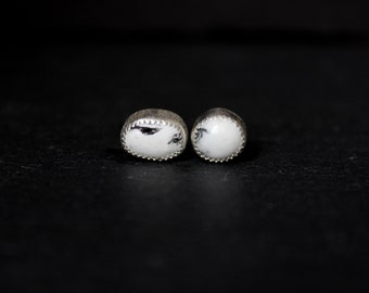 READY TO SHIP - White Buffalo Turquoise Sterling Silver Earrings #015 | December Birthstone | Studs Post | Gugma Women's Minimalist Jewelry