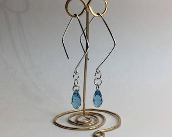 Silver earrings with blue Swarovski crystal drops