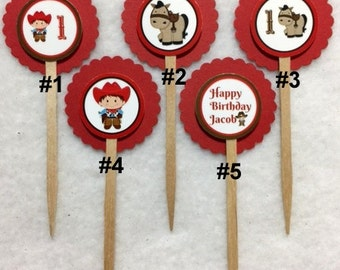 Set Of 12 Personalized Cowboy 1st Birthday Party Cupcake Toppers (Your Choice Of 12)