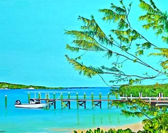 Acrylic on Canvas Boat Painting 30x40 inches, Ocean Art, Bahamian Art, Custom Art, Boat Art, Hope Town Bahamas