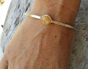 Gemstone Bracelet, Stacking Bangle, Sterling Silver, or, 16K Gold Fill, Hammered bangle, Gold Bangle, Silver Bangle, tiny bracelet, Citrine