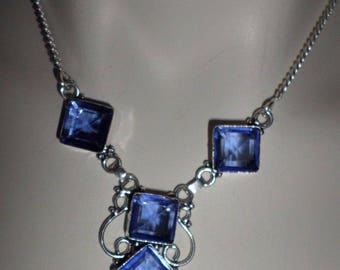 NECKLACE 925 sterling silver and Iolite (CO72) QUARTZ