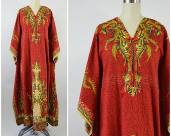 Vintage Batik Caftan Red and Gold Cotton Made in Thailand Size Small Size Medium Hippy Dress Festival Long Ethnic Cotton Kaftan