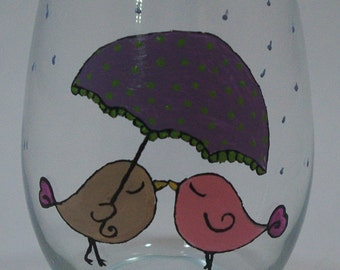 Love Birds in the Rain Hand Painted Wine Glass