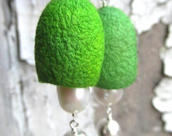 Spring I Silk and Pearl Earrings Sterling Silver