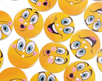 """10 Multi Colored Emoji Design Wooden Buttons 1"""" for Sweaters or Crafts"""