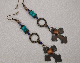 Cowgirl Western Dangle Earrings - Cross Earrings - Statement Earrings - Dangle Drop Earrings - Boho Earrings - WESTERN CROSS DANGLES