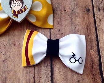 Harry potter bow lightening bolt glasses headband hair bow preppy baby girl hand painted