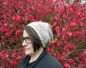 Multi hand knit wool blend winter hat