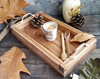Wooden Tray, Rustic Wooden Tray, Photography Props,Serving tray, coffee table tray, Table Kitchen Vintage Decor