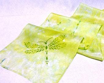Hand-dyed Silk Scarf, Silk Scarf, Ice Dyed Silk Scarf, Dragonfly Scarf, Chartreuse Scarf, Dragonflies, Dragonfly (SS-15-19)