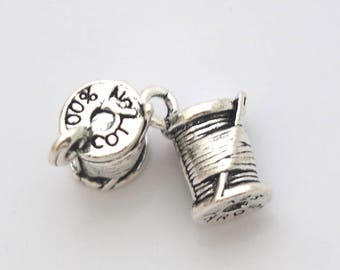 2 Charms (hollow) 14x7mm silver plated wire coil