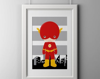 Flash superhero wall decor prints, superhero wall art, 8x10 inch print shipped to your door