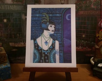 """New Orleans Art // Flapper Art // From my Original Painting """"Moonlight Tears"""" // Open & Limited Edition // Certificate of Authenticity"""