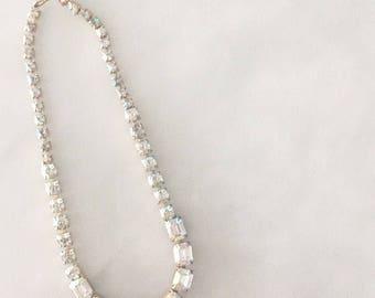 Vintage iradecent rhinestone necklace