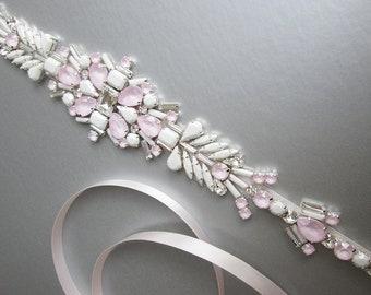 Ice pink wedding belt, Bridal belt sash, Crystal belts sashes, Swarovski bridal belt, Bridal beaded rhinestone belt, Bridal crystal sash