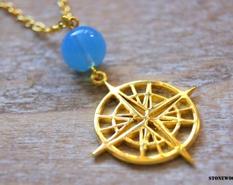 Compass necklace and natural blue opalite beads
