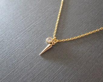 Gold Tiny Spike CZ Round Stone Necklace