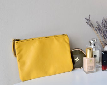 LEATHER POUCH, Leather zipper pouch, Leather cosmetic bag, Leather make up pouch, Leather clutch, Zipper pouch - Mustard Yellow