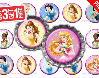 Disney Princess Bottle Cap Images - 1 inch size - Suitable for Hair Bows, Scrapbooking, Stickers etc - High Resolution Images [Princess02]