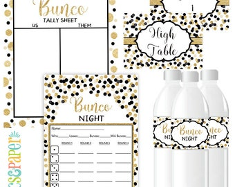 Bunco Night Score Card in Gold and Black Confetti, Bunco Night Printable-Table Markers-Table Numbers-Tally Sheet-Instant Download