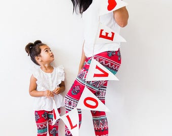 Mommy and me outfits, Mother daughter clothing, valentines outfit , mommy and me leggings, tribal leggings, baby girl outfits, red leggings