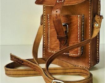 Handmade Organic Leather Man Bag, Hand Stitched, Shoulder Purse, Crossbody, Mini Messenger Bag.