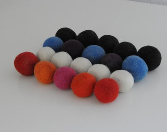 Set of 5 Wool Dryer Balls Fabric Laundry Softener / Hypo-Allergenic No Chemicals / Hand Felted / Baby Safe READY TO SHIP