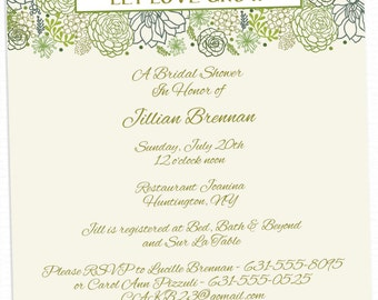 Let Love Grow Floral Green Bridal Shower Invitations