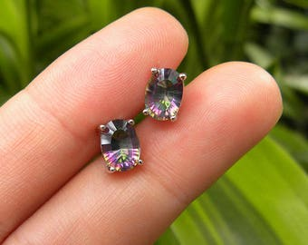 7x5 mm. Genuine Rainbow Mystic Topaz Oval Solid 925 Sterling Silver Stud Earrings