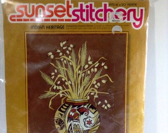 Vintage Sunset Stichery Indian Hertiage Crewel Needlepoint Kit by Eileen Violet Crewel Tutorial Kits Gift For Crafters Southwestern Style