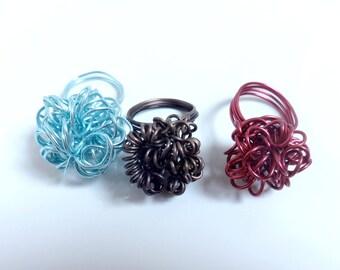 Handmade ring twisted swirl custom - aluminum-