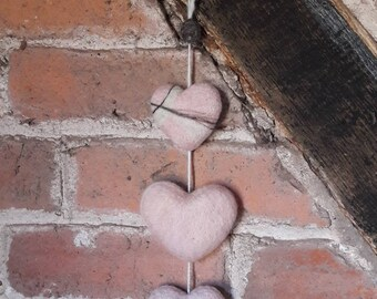 Pink Felted Hearts Hanging Wall Decoration
