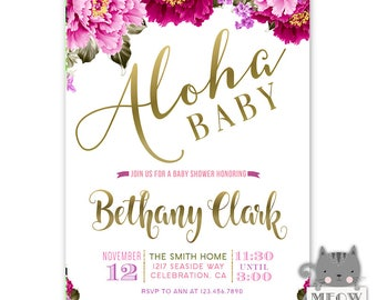Aloha Baby Shower Invitation, Luau Baby Shower Invitation, Tropical Floral Invitation, Luau Invitation, Hawaiian Baby Shower Invitation Girl