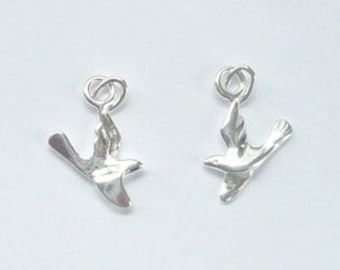 2 pcs Sterling silver flying bird charm (17x17mm)