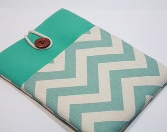 Green MacBook 12 inch Sleeve Womens Macbook Laptop Case 12 inch Macbook 12 Case Cover Foam Padded Handmade Cover - Chevron Print