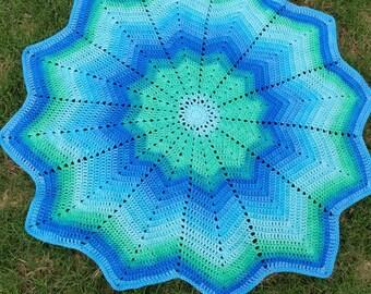 Blue Green Ripple Blanket