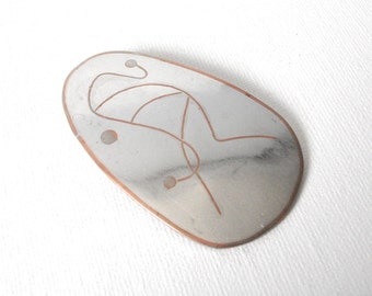 Los Castillo Mixed Metal Sterling Silver And Copper Pendant With Abstract Figure