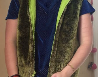 Vintage RARE Dollhouse green faux fur hooded vest